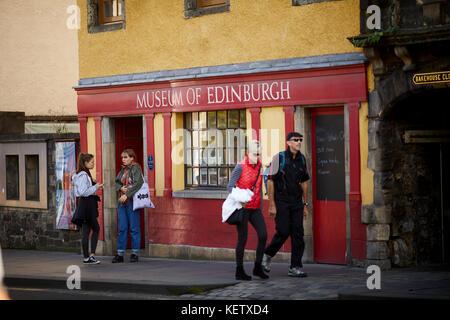 Historic Edinburgh, Scotland , sign for Royal Mile The Muesum of Edinburgh Canongate - Stock Photo
