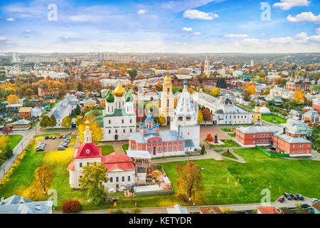 Aerial view on churches in old town (kremlin) of Kolomna, Moscow oblast, Russia - Stock Photo