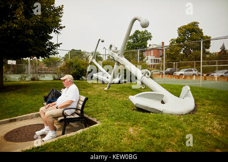 Boston Massachusetts New England North America USA, large Anchor displayed in the grounds of  USS Constitution Museum - Stock Photo
