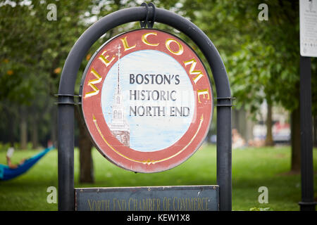 Boston Massachusetts New England North America USA ,  Welcome to Historic North End park Christopher Columbus Waterfront - Stock Photo