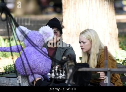 Emma Stone, On Location in Washington Square Park for the TV Series MANIAC out and about for Celebrity Candids  - Stock Photo