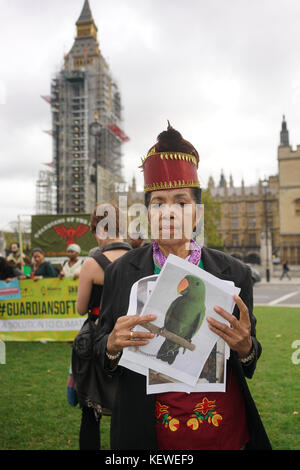 London, UK. 24th October, 2017. London Demo: indigenous leaders from Latin America, Indonesia and Africa as they arrive in London on 24 October, on their journey to the COP23 UN Climate Change Conference in Bonn. Protest at the Parliament Square, Guardians of the Forest's calls for an end to violence, criminalization and murder; climate finance; recognition of their rights to territory and consent; and a voice in climate change strategies. Credit: See Li/Alamy Live News Stock Photo