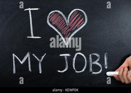 A Person Hand Showing Job Loving Concept Written On Blackboard - Stock Photo