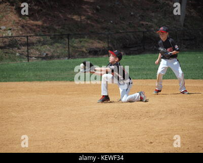 Little League fielder stopping ball during hot summer day. - Stock Photo