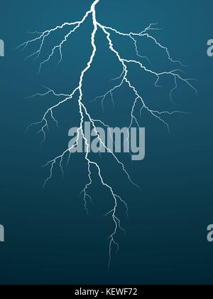 Lightning Bolt on Dark Background. Thunderbolt. Vector illustration - Stock Photo