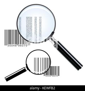 Vector illustration of magnifying glass barcode collection - vector illustration - Stock Photo