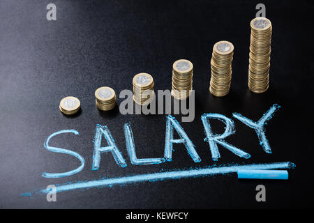 High Angle View Of Salary Concept With Stacked Coin On Blackboard - Stock Photo