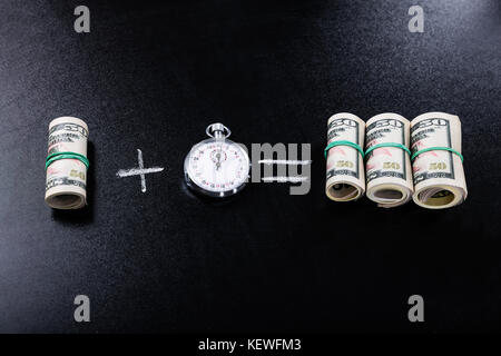 Profit Making Concept With Stopwatch On Blackboard - Stock Photo
