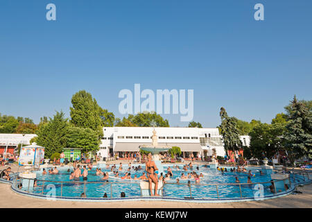 Horizontal view of a thermal pool at Palatinus Strand in Budapest. - Stock Photo