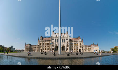 Horizontal panoramic (2 picture stitch) view of Kossuth Lajos Square in Budapest. - Stock Photo