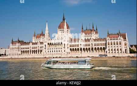 Horizontal view of the Houses of Parliament on the river Danube in Budapest. - Stock Photo
