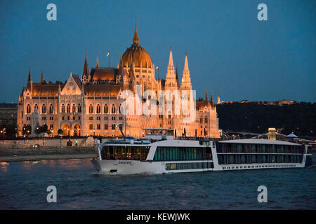 Horizontal view of the Parliament building in Budapest. - Stock Photo