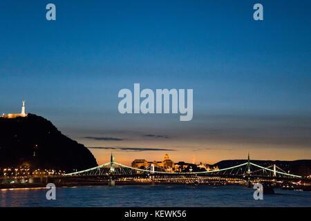 Horizontal nighttime cityscape in Budapest. - Stock Photo