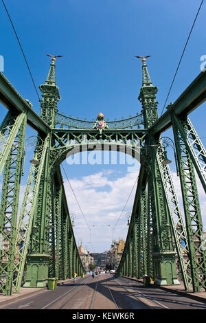 Vertical view of Szabadság híd or Liberty Bridge in Budapest. - Stock Photo