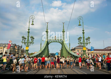 Horizontal view of Szabadság híd or Liberty Bridge closed to traffic in Budapest. - Stock Photo