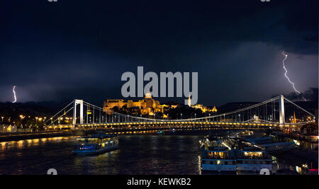 Horizontal cityscape of Budapest during a thunderstorm at night. - Stock Photo