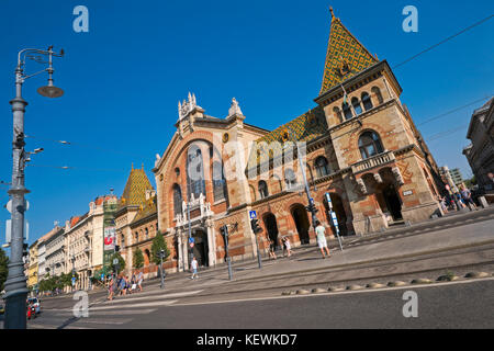Horizontal view of the Great Market Hall in Budapest. - Stock Photo