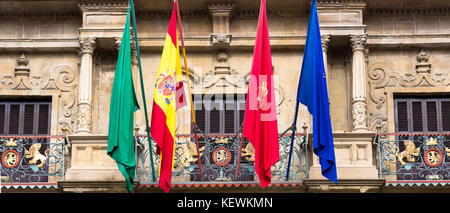 Ayuntamiento town hall in Plaza Consistorial (Udaletxe Plaza)   in Pamplona, Navarre, Northern Spain - Stock Photo