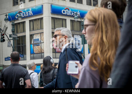 A branch of Citibank in New York on Friday, October 13, 2017. Citigroup announced third-quarter earnings that beat - Stock Photo