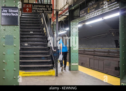 Jay Street-Metrotech subway station in Brooklyn in New York on Saturday, October 14, 2017.  (© Richard B. Levine) - Stock Photo