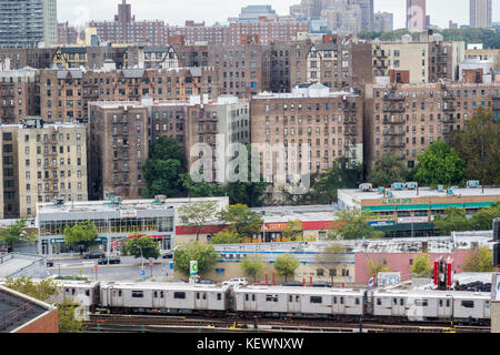 Densely packed apartment buildings and housing stock in the High Bridge and Concourse neighborhoods of the New York - Stock Photo