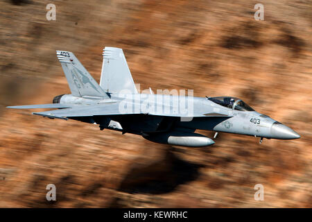 United States Navy Boeing F/A-18E Super Hornet (AG 403) from the VFA-25 Fist of the Fleet squadron Naval Air Station - Stock Photo