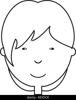flat line uncolored man face over white background vector illustration - Stock Photo