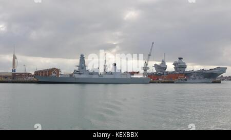 HMS Duncan D37 moored at Portsmouth Navel Dockyard - Stock Photo