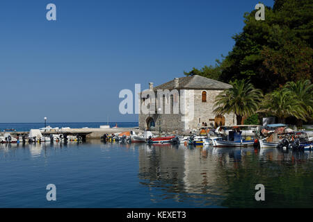 Harbor with boats in the Golden Beach in Thassos Island Greece, picture from Scala Potamai. - Stock Photo