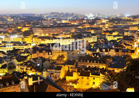 Mouraria district and the historical centre of Lisbon, Portugal - Stock Photo