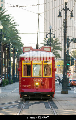 United States, Louisiana, New Orleans, French Quarter. Canal Street streetcar line. - Stock Photo