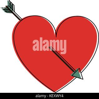 heart cartoon with arrow valentines day related icon image  - Stock Photo