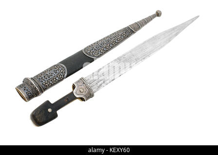 Beautiful example of caucasian dagger with wide blade and silver decoration. The beginning of 20 century (1900-1908). - Stock Photo