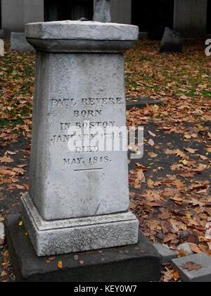 Paul Revere's marker, Boston, Mass. - Stock Photo