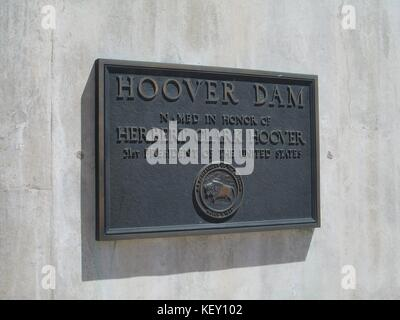 Hoover Dam placque on the Arizona, Nevada border - Stock Photo
