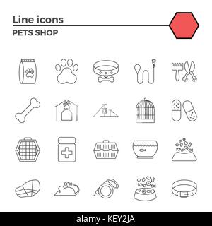 Pets Shop Thin Line Related Icons Set on White Background. Simple Mono Linear Pictogram Pack Stroke Vector Logo - Stock Photo