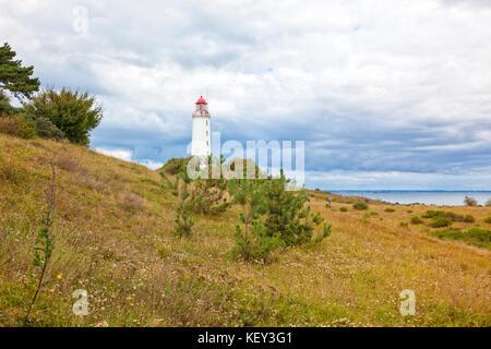 Dornbusch lighthouse on Hiddense island, Mecklenburg-West Pomerania - Stock Photo