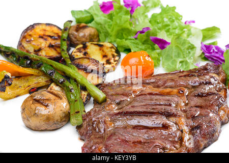 Beef steak with potatoes and Greens - Stock Photo