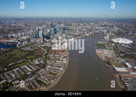An aerial view from the River Thames showing the Isle of Dogs and the O2 Arena - Stock Photo