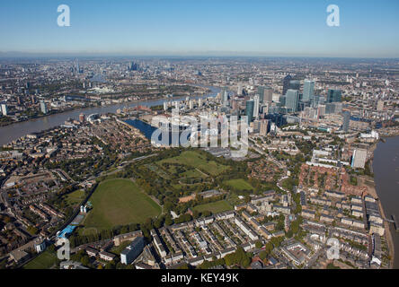 An aerial view of London from the Southern tip of the Isle of Dogs towards the City - Stock Photo