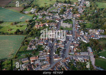 An aerial view of the Suffolk village of Clare - Stock Photo