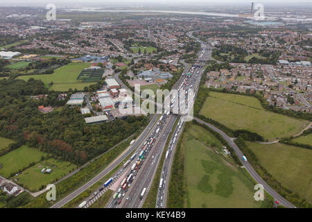 An aerial view of traffic congestion on the M25 heading from Junction 2 towards the Dartford Crossing - Stock Photo