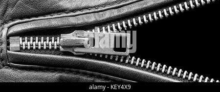 Metal Zipper on Leather Jacket Detail Close Up - Stock Photo