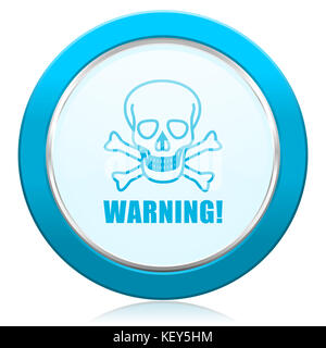 Warning skull blue chrome silver metallic border web icon. Round button for internet and mobile phone application - Stock Photo