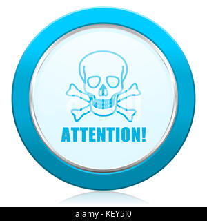 Attention skull blue chrome silver metallic border web icon. Round button for internet and mobile phone application - Stock Photo