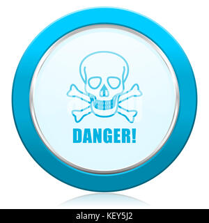 Danger skull blue chrome silver metallic border web icon. Round button for internet and mobile phone application - Stock Photo