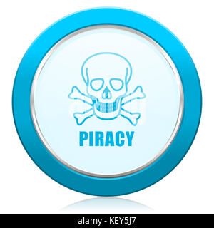 Piracy skull blue chrome silver metallic border web icon. Round button for internet and mobile phone application - Stock Photo