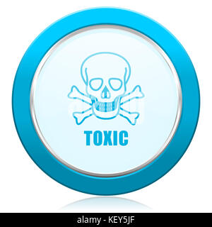 Toxic skull blue chrome silver metallic border web icon. Round button for internet and mobile phone application - Stock Photo