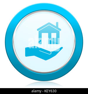 House care blue chrome silver metallic border web icon. Round button for internet and mobile phone application designers. - Stock Photo