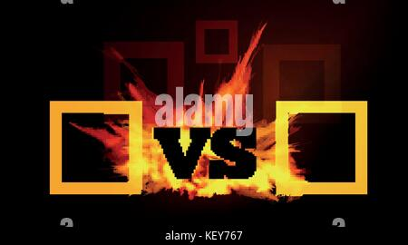 VS comparison of a vector background with a fiery flame on a black background - Stock Photo